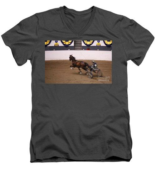 Road Pony At Speed Men's V-Neck T-Shirt by Carol Lynn Coronios
