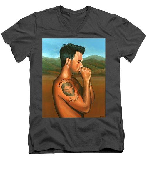 Robbie Williams 2 Men's V-Neck T-Shirt by Paul Meijering