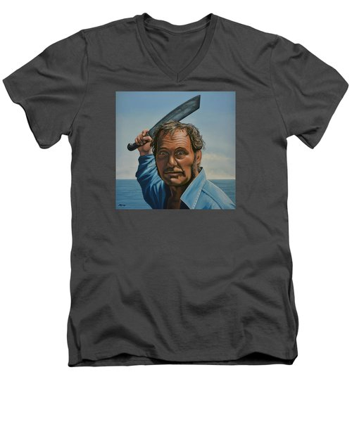 Robert Shaw In Jaws Men's V-Neck T-Shirt by Paul Meijering