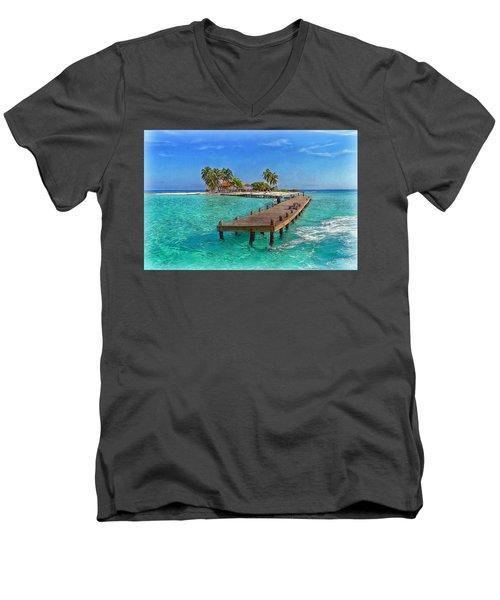 Robinson Island Men's V-Neck T-Shirt by Hanny Heim