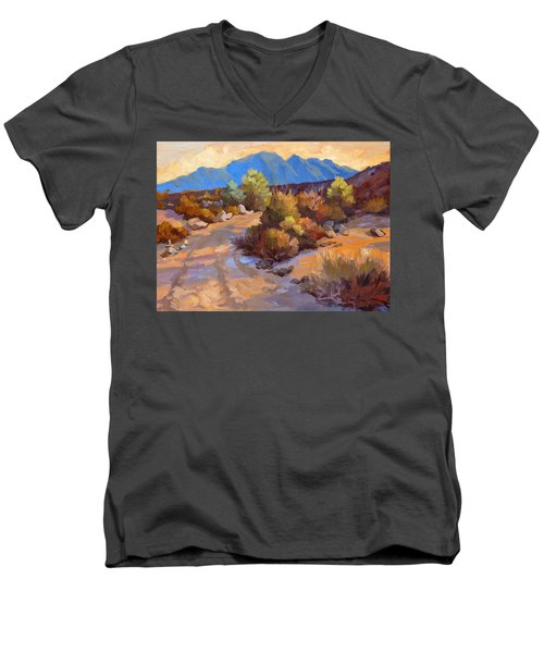 Rock Cairn At La Quinta Cove Men's V-Neck T-Shirt by Diane McClary