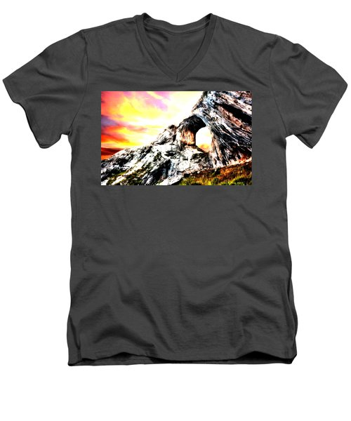 Men's V-Neck T-Shirt featuring the painting Rock Cliff Sunset by Bruce Nutting
