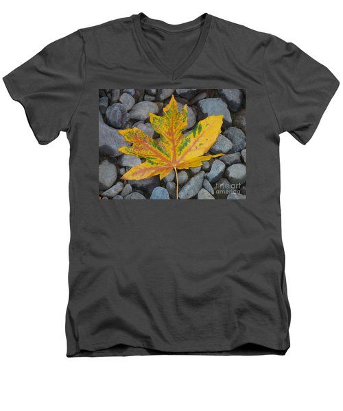 Men's V-Neck T-Shirt featuring the photograph Rock Creek Leaf by Chalet Roome-Rigdon