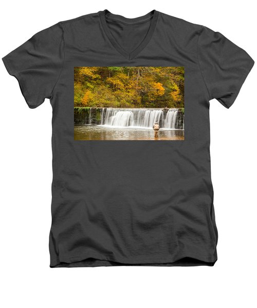 Men's V-Neck T-Shirt featuring the photograph Rockbridge Fisherman by Steven Bateson
