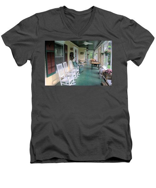 Rockers On The Porch Men's V-Neck T-Shirt by Gordon Elwell