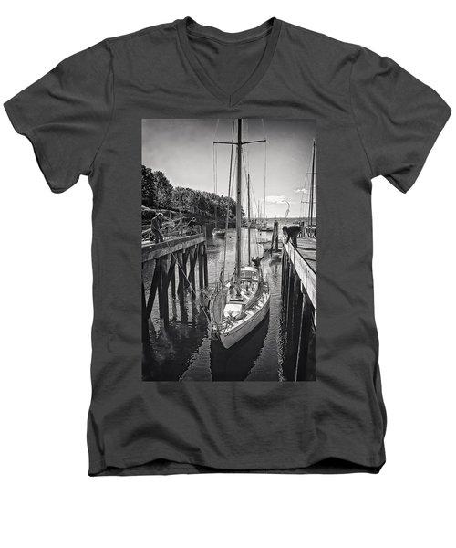 Rockport Harbor Men's V-Neck T-Shirt by Priscilla Burgers