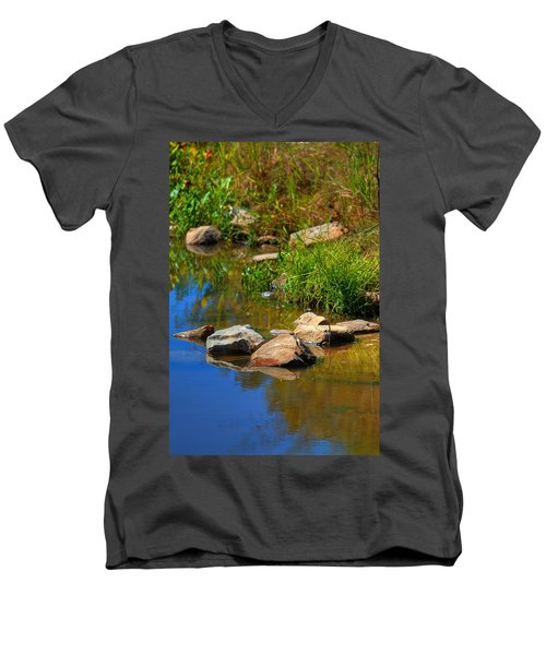 Men's V-Neck T-Shirt featuring the photograph A Clear Reflection by Ester  Rogers