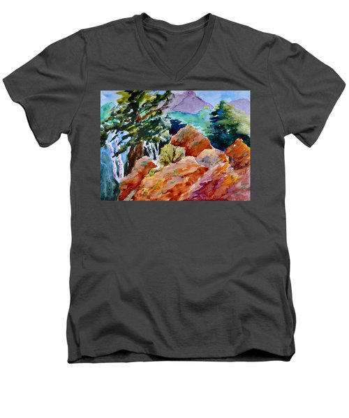 Rocks Near Red Feather Men's V-Neck T-Shirt