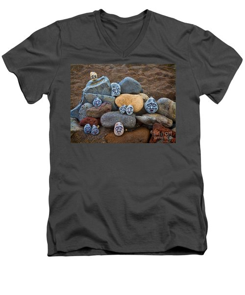 Rocky Faces In The Sand Men's V-Neck T-Shirt by David Smith