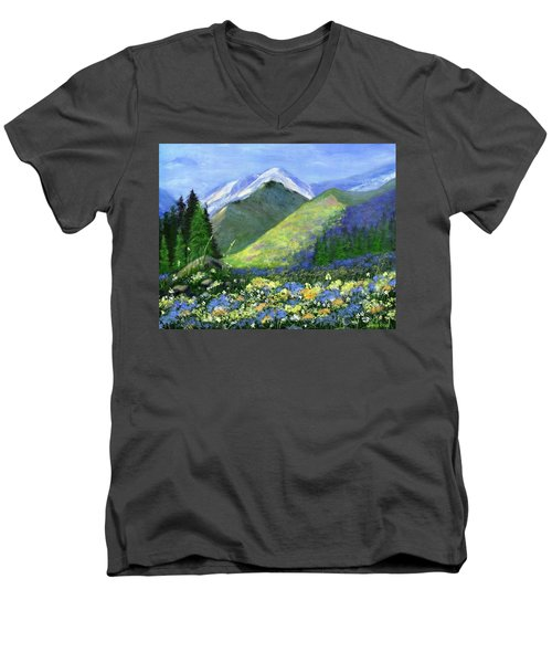 Rocky Mountain Spring Men's V-Neck T-Shirt