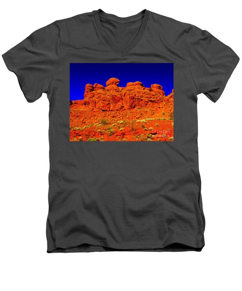 Men's V-Neck T-Shirt featuring the photograph Rocky Outcrop by Mark Blauhoefer