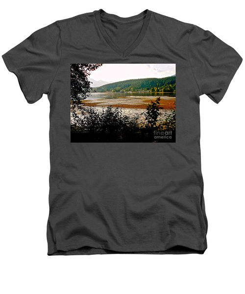 Men's V-Neck T-Shirt featuring the photograph Rocky Point Port Moody by Sher Nasser