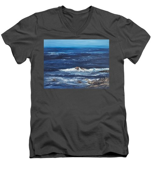 Rocky Shore Men's V-Neck T-Shirt by Valerie Travers