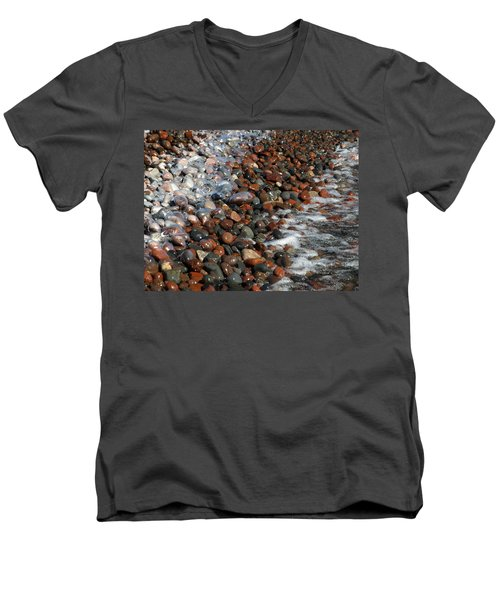 Rocky Shoreline Abstract Men's V-Neck T-Shirt
