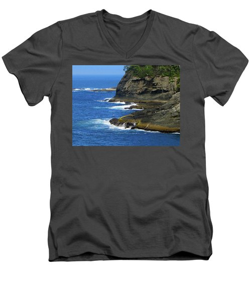 Rocky Shores Men's V-Neck T-Shirt by Tikvah's Hope