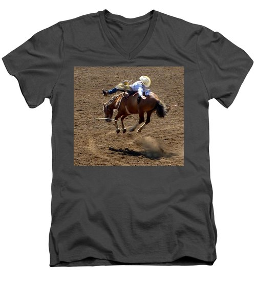 Rodeo Time Bucking Bronco 2 Men's V-Neck T-Shirt
