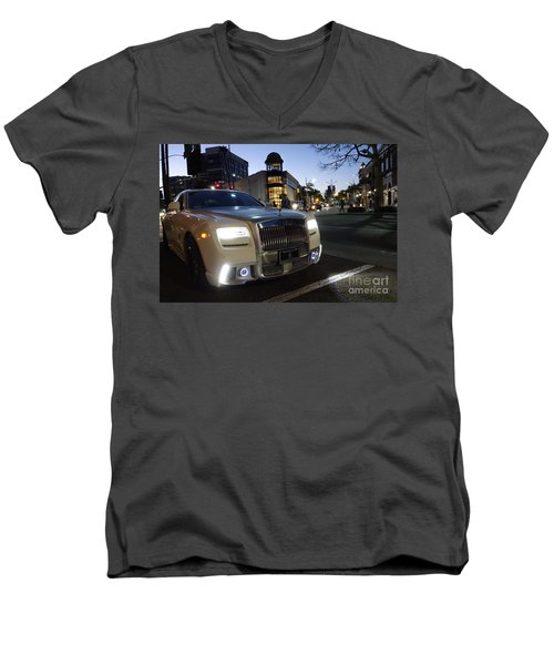 Rolls Royce Parked At The Bottom Of Rodeo Drive Men's V-Neck T-Shirt by Nina Prommer