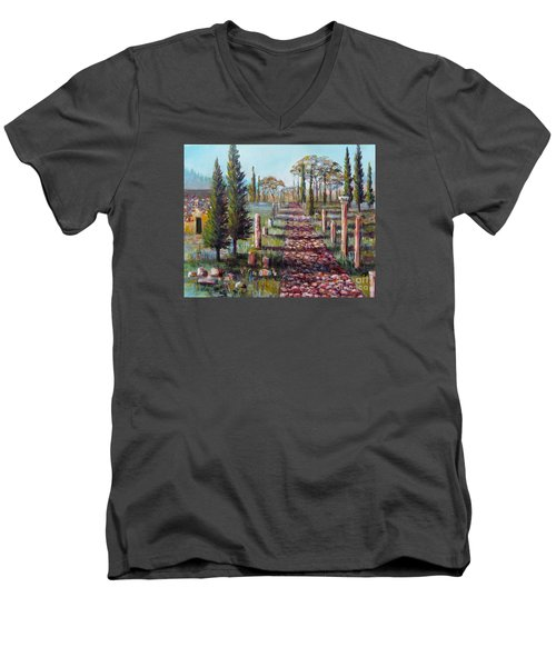 Men's V-Neck T-Shirt featuring the painting Roman Road by Lou Ann Bagnall