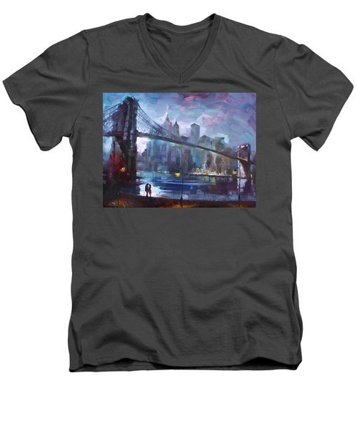 Romance By East River II Men's V-Neck T-Shirt by Ylli Haruni