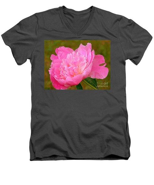 Pink Peony Men's V-Neck T-Shirt by Eunice Miller