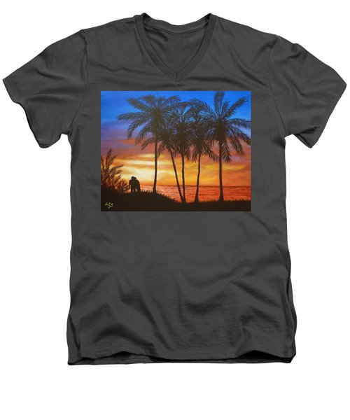 Romance In Paradise Men's V-Neck T-Shirt