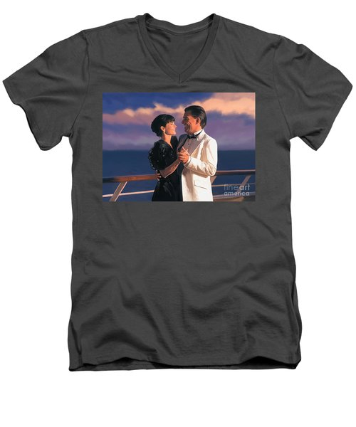 Men's V-Neck T-Shirt featuring the painting Romantic Cruise by Tim Gilliland