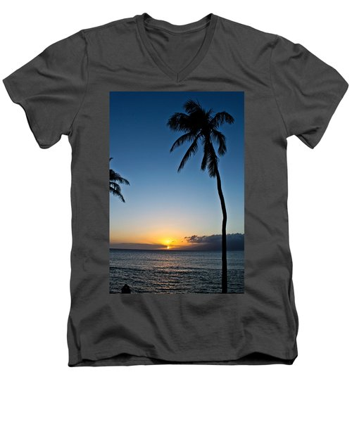 Romantic Maui Sunset Men's V-Neck T-Shirt by Joann Copeland-Paul