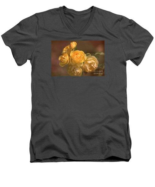 Romantic Roses Men's V-Neck T-Shirt by Joy Watson