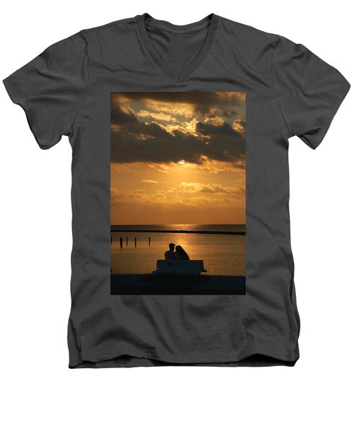 Romantic Sunrise Men's V-Neck T-Shirt by Leticia Latocki