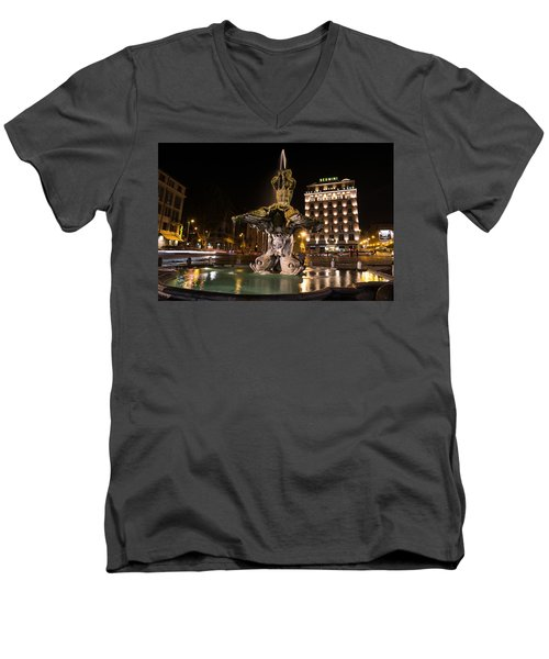 Rome's Fabulous Fountains - Bernini's Fontana Del Tritone Men's V-Neck T-Shirt