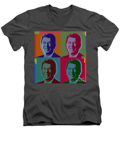 Ronald Reagan Men's V-Neck T-Shirt by Jean luc Comperat