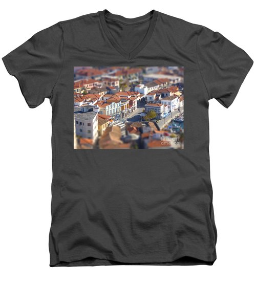 Men's V-Neck T-Shirt featuring the photograph Rooftops by Vicki Spindler