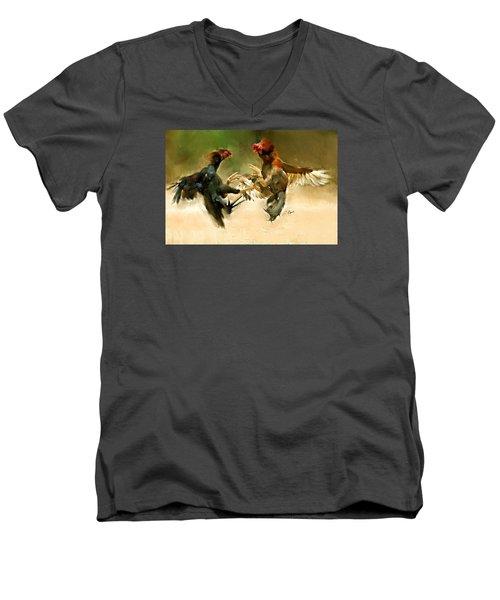 Rooster Fight Hd Men's V-Neck T-Shirt