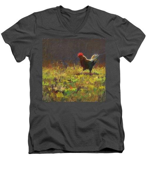 Rooster Strut Men's V-Neck T-Shirt by Karen Whitworth
