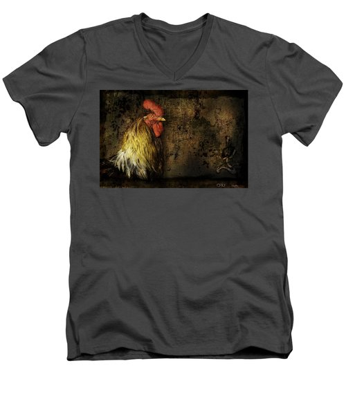 Men's V-Neck T-Shirt featuring the mixed media Rooster With Brush Calligraphy Loyalty by Peter v Quenter