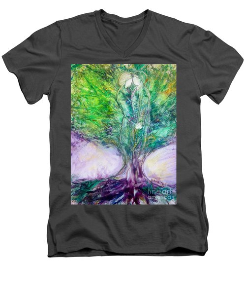 Men's V-Neck T-Shirt featuring the painting Rooted In Love by Deborah Nell