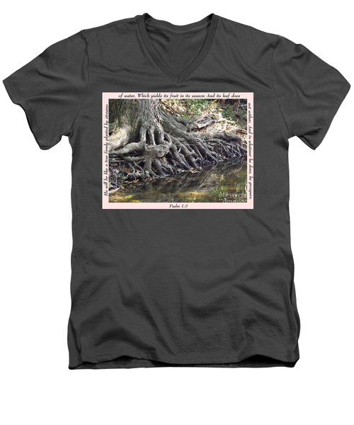Roots With Verse Psalm 1 3 Men's V-Neck T-Shirt