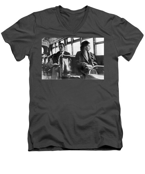 Rosa Parks On Bus Men's V-Neck T-Shirt