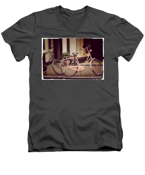 Rose Bike Men's V-Neck T-Shirt by Mary-Lee Sanders