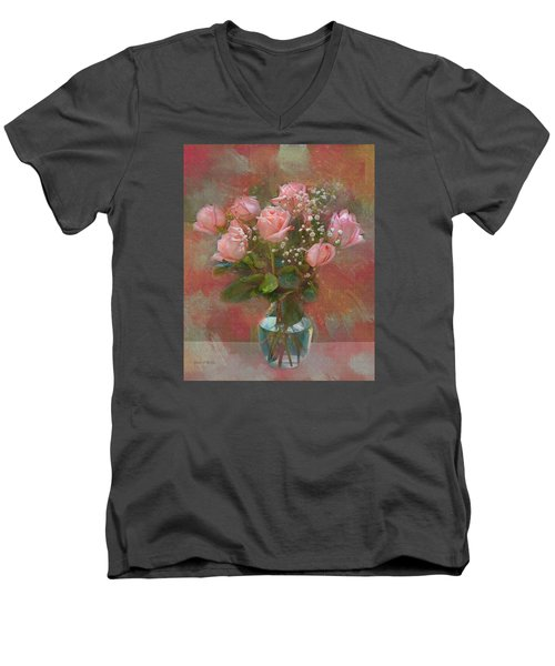Rose Bouquet Men's V-Neck T-Shirt by Sandi OReilly