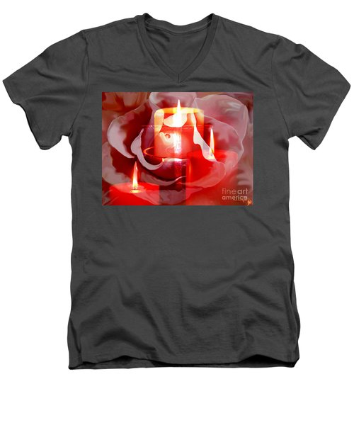 Rose Cross And Candles Men's V-Neck T-Shirt by Annie Zeno