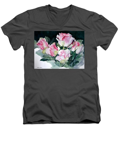 Watercolor Of A Pink Rose Bouquet Celebrating Ezio Pinza Men's V-Neck T-Shirt