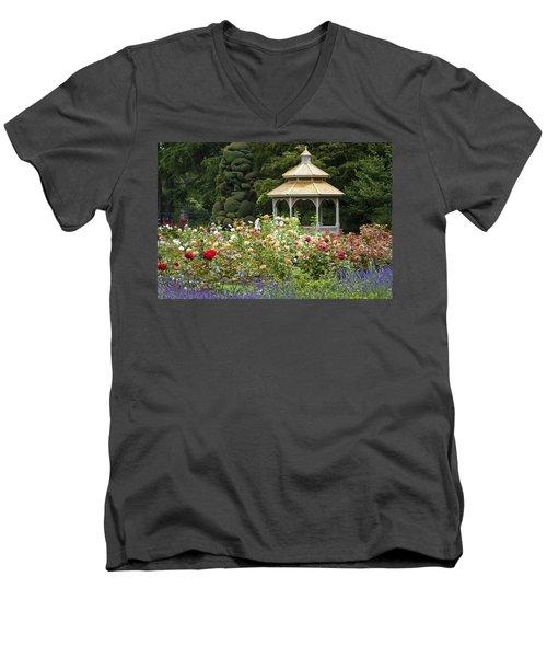 Men's V-Neck T-Shirt featuring the photograph Rose Garden Gazebo by Sonya Lang