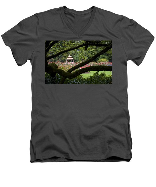 Men's V-Neck T-Shirt featuring the photograph Rose Garden Window by Sonya Lang