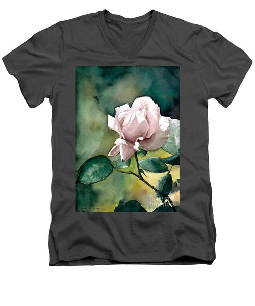 Men's V-Neck T-Shirt featuring the painting Lilac Rose  by Greta Corens