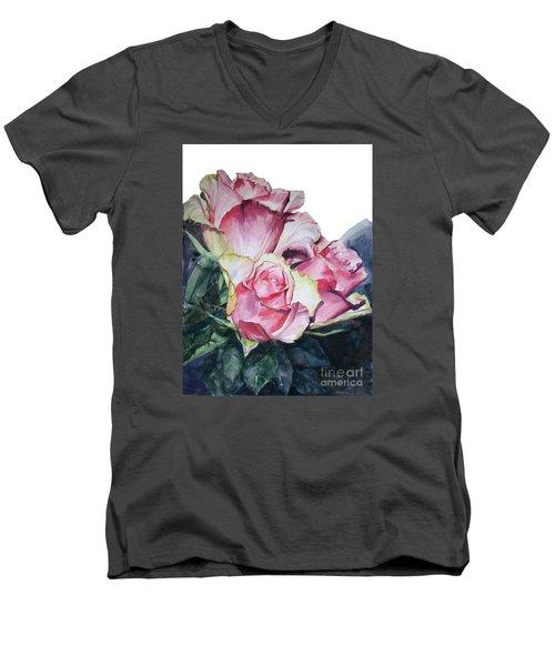 Pink Rose Michelangelo Men's V-Neck T-Shirt by Greta Corens