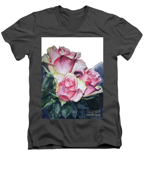 Watercolor Of A Bouquet Of Pink Roses I Call Rose Michelangelo Men's V-Neck T-Shirt