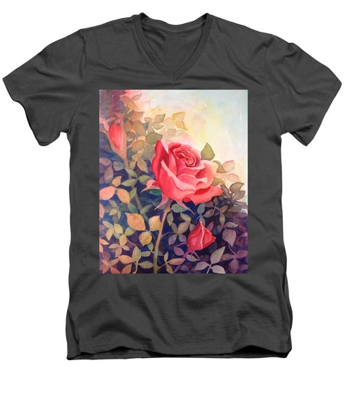 Rose On A Warm Day Men's V-Neck T-Shirt by Marilyn Jacobson