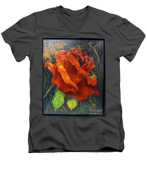 Rose Red Men's V-Neck T-Shirt