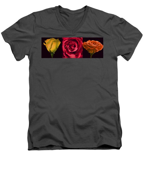 Men's V-Neck T-Shirt featuring the photograph Rose Triad I by John Hansen